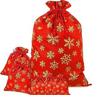 Bolsa De Regalo De Navidad Grande Muñeco De Nieve Alce Lino Bolsas Caramelo Bolsa De Cordón Reino Unido Stock