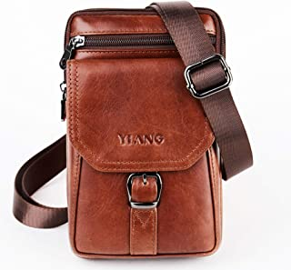 Leather Belt Clip Pouch Vertical Cellphone Holster Waist Pack/Belt Bag Wallet Pouch Men Carrying Sleeve Men Purse Mini Travel Messager Pouch Crossbody Pack Purse Compatible with iPhone 8/7/6s Plus Gal