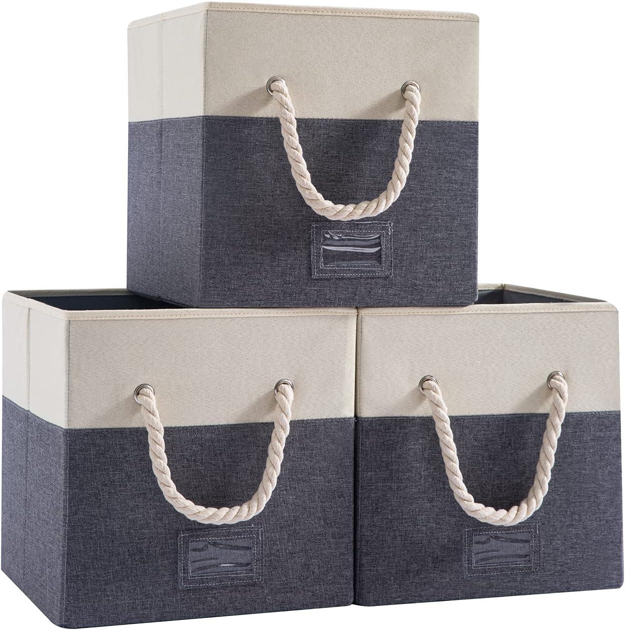Stackable Storage Japan's largest assortment Baskets Max 51% OFF for Shelves Large Foldable - B