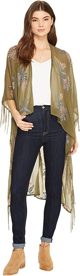 BCBGeneration - Floral Embroidered High-Low Kimono