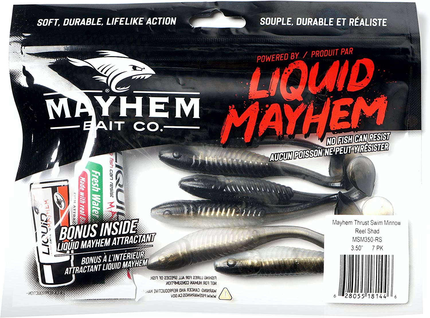 A Great Soft Plastic Fishing Lure for bass and a Multitude of Other Fish Species. Mayhem Thrust Swim Minnow Freshwater Fishing Lure 3 Pack