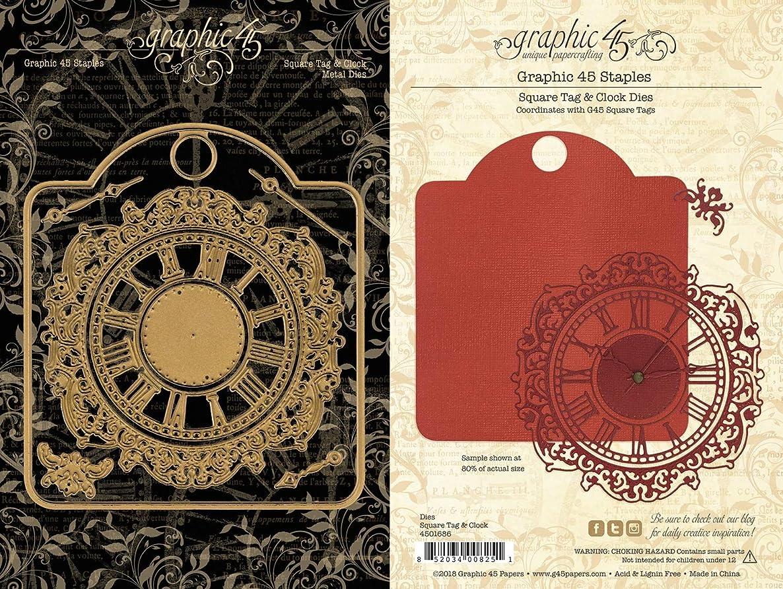 Graphic 45 4501686 G45 Staples Square Tag & Clock Dies