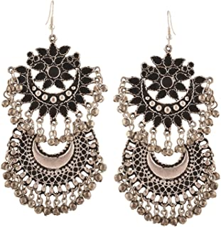 Crunchy Fashion Bollywood Style Traditional Indian Jewelry Oxidized Silver Dangle and Drop Earrings for Women/Girls