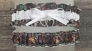 Sexy Dark Camouflage White Satin Camo Wedding Bridal Garter SET - Double Heart Charm