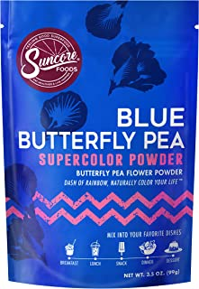 Suncore Foods - 100% Pure Blue Butterfly Pea Flower Powder, 3.5oz, (1 Pack)   Natural Supercolor Powder