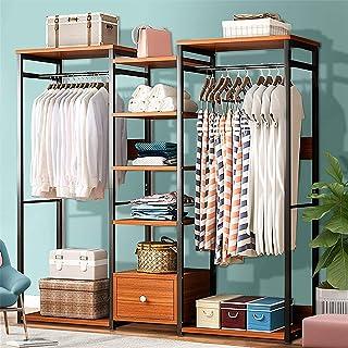 L.BAN Chambre à Coucher Porte-vêtements en Bois Placard de Rangement Organisateur Porte-vêtements Cintre sèche étagère Sta...