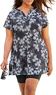 Women's Plus Size Longer Length Short-Sleeve Swim Tunic