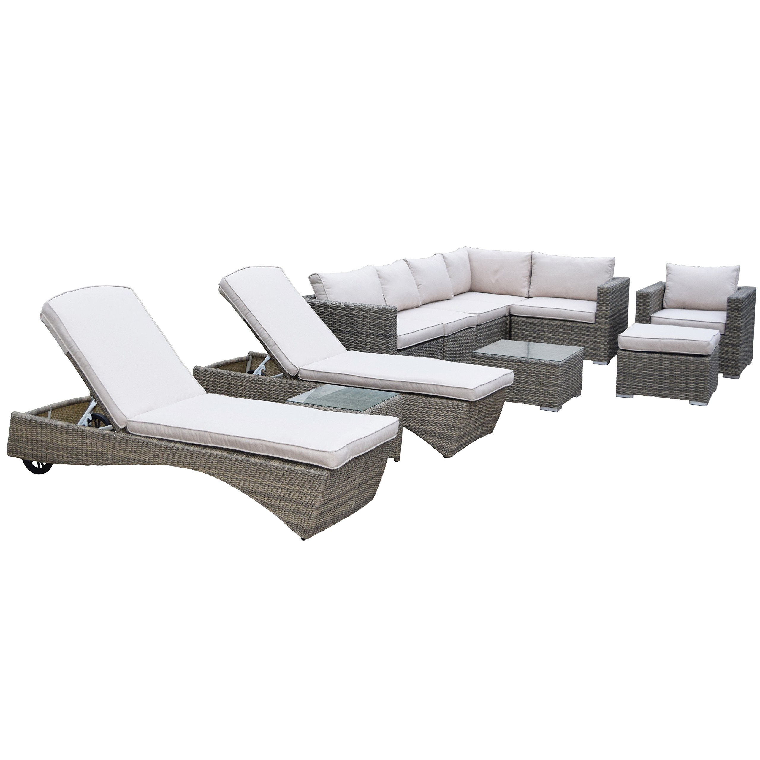 Oakland Living Ice Cooler Carts Borneo Modular All Weather Resin Wicker 11 Piece Set With Club Chair Ottoman Table Chaise Lounge Set Pillows Earth Tone Garden Outdoor