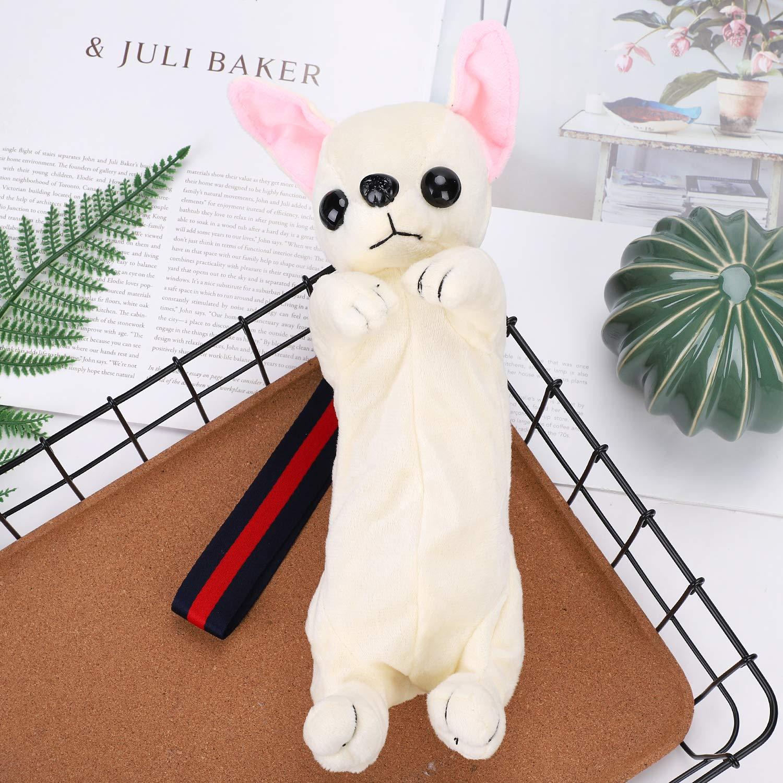 Bonito estuche de maquillaje para perro, de peluche, para la escuela, para estudiantes, con dibujos animados, gran capacidad, multifuncional, color Blanc/Chihuahua: Amazon.es: Oficina y papelería