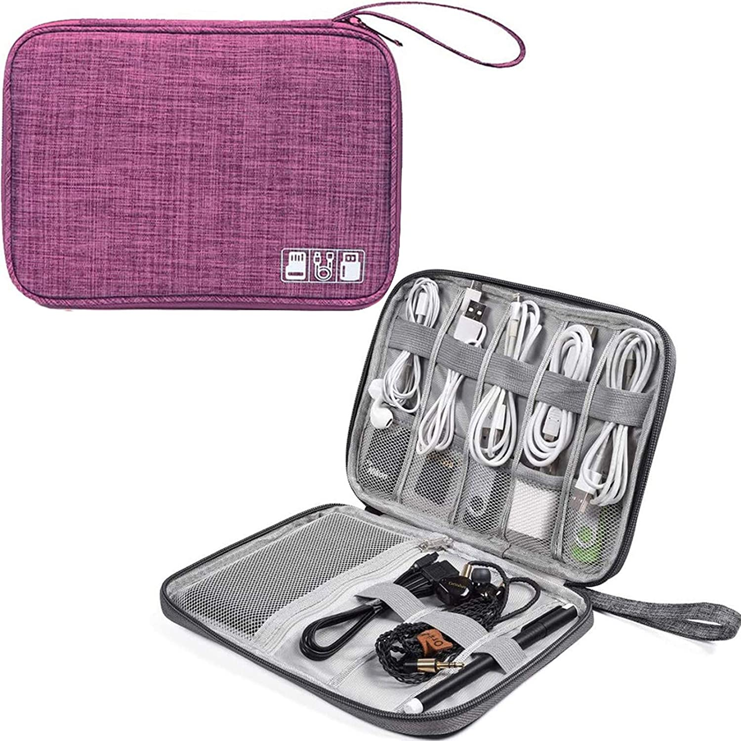 Electronics Accessories Bag, Digital Gadget Organizer Case, Waterproof Travel Gear Storage Carrying Sleeve Pouch for Cable, USB, Earphones, Portable Hard Drives, Power Banks,Purple