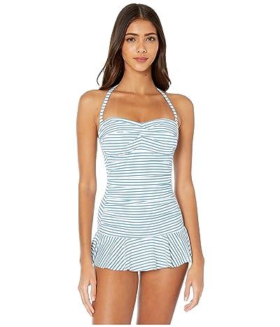 LAUREN Ralph Lauren Bengal Stripe Twist Front Shirred Underwire Skirted One-Piece Swimsuit (Blue/White) Women