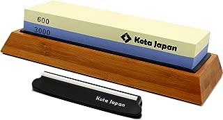 Kota Japan Combination Dual Sided 600-3000 Grit Diamond Knife Sharpener Whetstone Set for Coarse Sharpening & Fine Polishing. Water Stone Kit | Adjustable Bamboo Holder Base | Precision Blade Guide