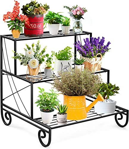 2021 Giantex 3 2021 Tier Metal Plant Stand, Stair Style Flower Pot Holder, Plant Display Rack for Home popular Garden Balcony, Freestanding Garden Shelf, Indoor Outdoor 3 Tiers Step Ladder Plant Stand online sale