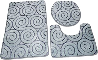 Home Concept 3 Pcs/Set Bathroom Anti-Slip Pedestal Rug plus Lid Toilet Cover plus Bath Mat, Grey, 686754125284