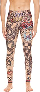COOFANDY Men's African Tribal Tattoo Print Compression Tights Pants Sports Leggings