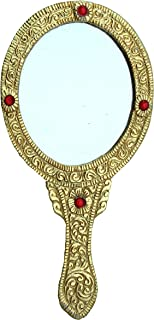 Oxidized Golden Metal Oval Mirror Handmade Handicraft for Home Decor Gift Item