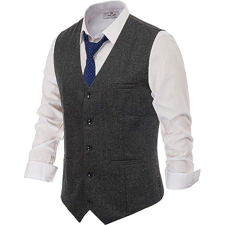 PAUL JONES Men's British Herringbone Tweed Vest Premium Wool Waistcoat, Dark Grey, Medium