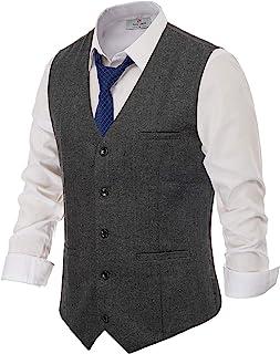 PAUL JONES Men's British Herringbone Tweed Vest Premium Wool Waistcoat - grey - Medium