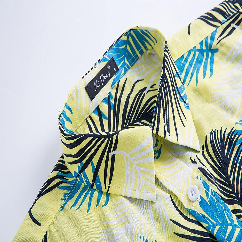 Men's Flower Casual Button Down Short Sleeve Hawaiian Shirt Cotton Comfort Print Summer Tropical Shirts