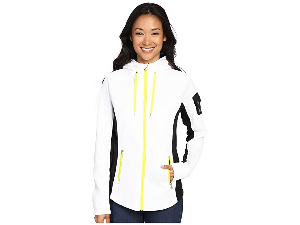 Spyder Ardent Full Zip Hoodie Mid Weight Core Sweater (White/Black/Acid) Women