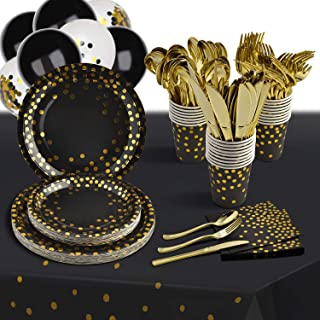 Black and Gold Party Supplies 216 PCS Disposable Dinnerware Set Black Paper Plates Napkins Cups Gold Plastic Forks Knives ...