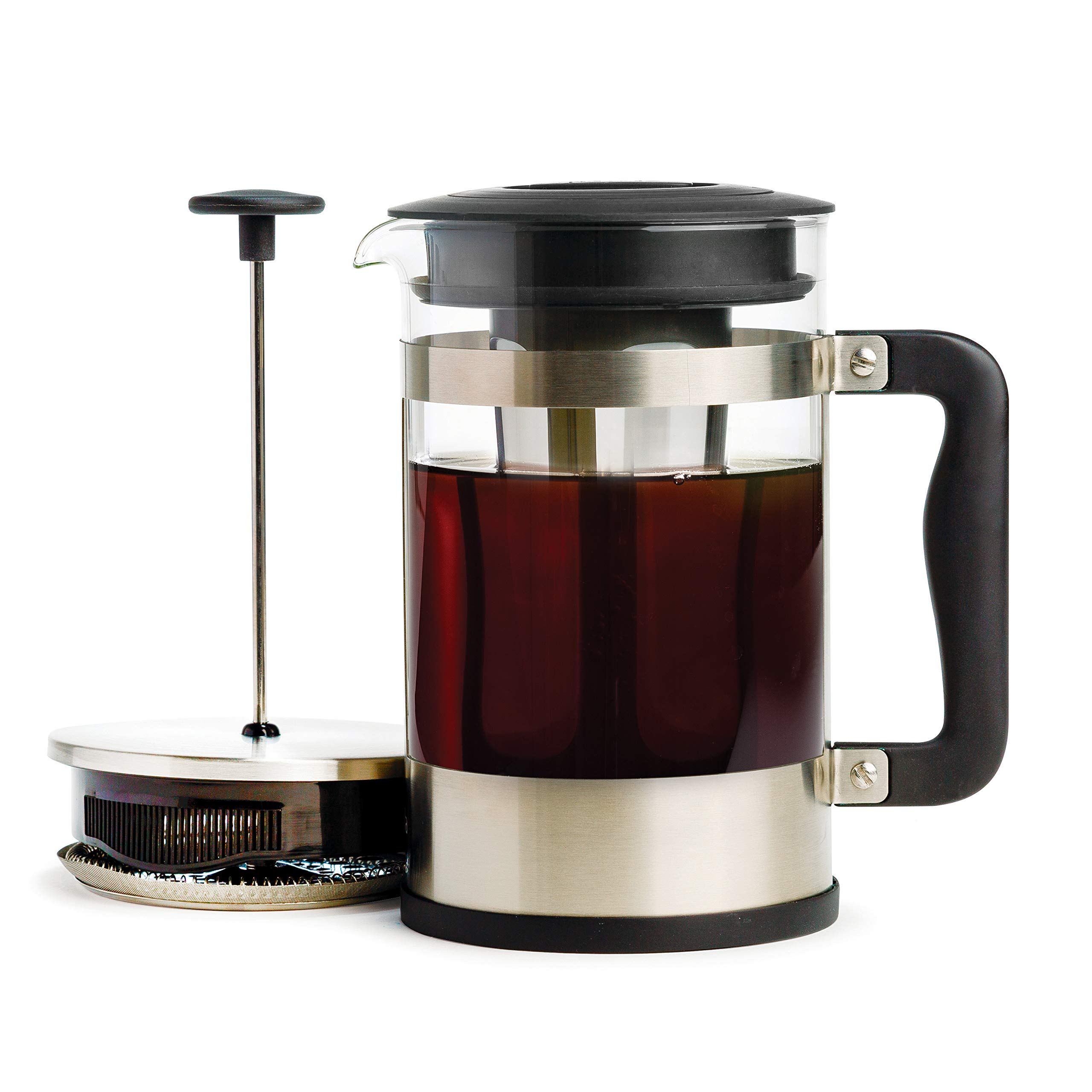 Amazon Com Primula 2 In 1 French Press Cold Brew One Coffee Maker Comfort Grip Handle Durable Glass Carafe Perfect Size 6 Cup Stainless Steel Kitchen Dining