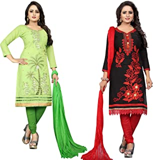 Samarth Enterprise Women's Straight Green And Black Dress Material (Pack of 2) (Unstitched)