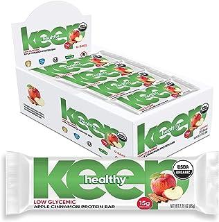 Keep Healthy Low Glycemic Bar - Apple Cinnamon - 12g Plant Based Protein, Low Sugar, Organic, Vegan, Gluten Free, Soy Free...