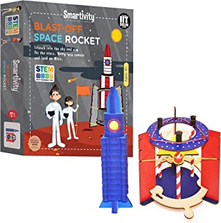Smartivity Blast Off Space Rocket , STEM Learning Toys, Creative Construction Engineering, Educational Building Set, Boys & Girls Ages 6 7 8 9 10+ Year Old, Science Kit, DIY Kit, Wooden