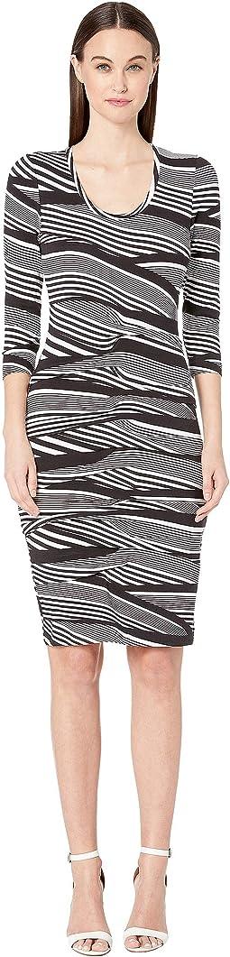 "Wavy Stripe ""Dakota"" Tidal Pleat Dress"
