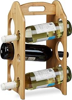 Relaxdays Porte-bouteilles de vin casier à vin étagère à bouteilles bambou HxlxP: 40 x 20 x 20 cm, nature
