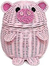 G6 COLLECTION Pig Rattan Storage Basket with Lid Decorative Bin Home Decor Hand Woven Shelf Organizer Cute Handmade Handcr...