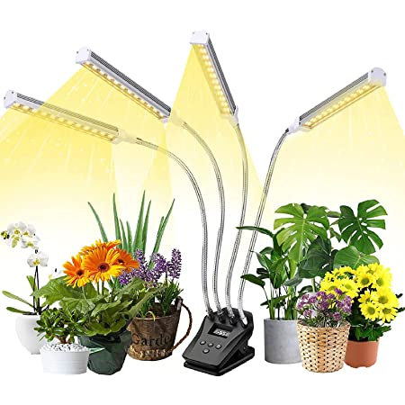 Grow Lights for Indoor Plants, Full Spectrum Grow Light with LCD, Plant Light for Indoor Plants with Table Clip, Custom Timing, 10 Brightness Levels, 4 Switch Modes