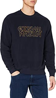Original Penguin Men's Stickered Logo Long Sleeve Knit Pullover Sweater