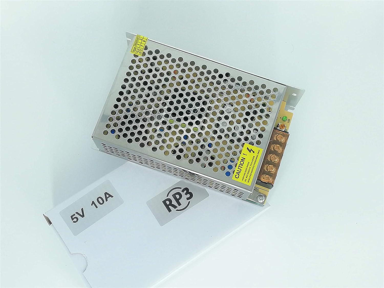 RP3 Fuente de Alimentación Conmutada AC 110/220V a DC 5V DC 10A 50W, Transformador Convertidor para Pantalla LED
