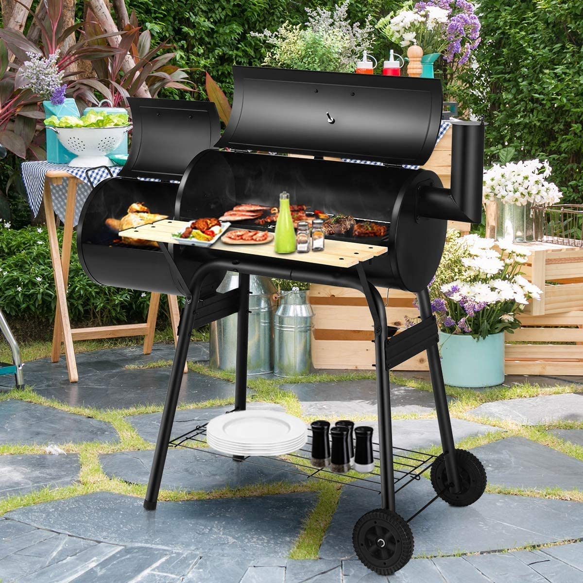 discount HAPPYGRILL Outdoor BBQ Grill Portable Charcoal Max 63% OFF Ov Barbecue