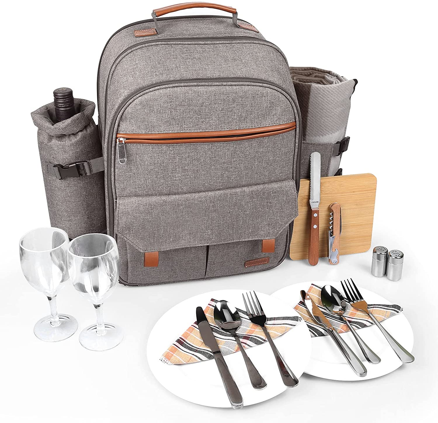 Sunflora Insulated Picnic Backpack for 2 Person Bag with Cooler Compartment, Blanket and Stainless Steel Cutlery Set for Couple, Lovers and Friends (Brush Beige) : Patio, Lawn & Garden