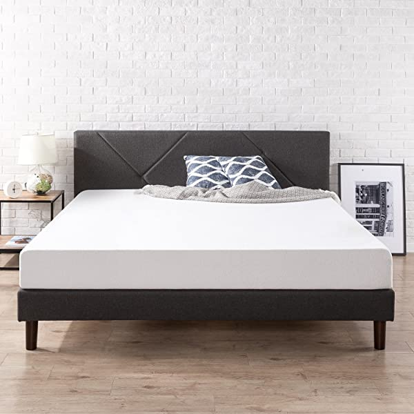 Zinus Upholstered Geometric Paneled Platform Bed Mattress Foundation Easy Assembly Strong Wood Slat Support King