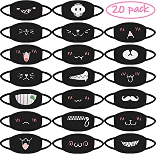 BBTO 20 Pieces Mouth Mask Unisex Cotton Face Mask Cartoon Kawaii Muffle Mask Anti-dust Anime Mask for Kids Teens Men Women (Style A)