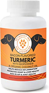 PetBoostMD Bacon-Flavored Pet Turmeric Curcumin for Dogs with Organic Coconut Oil & BioPerine for Hip & Joint Support, Heart & Liver Health – 120 Chews, Nutritional Supplements for Pets