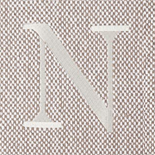 Mud Pie Woven Cotton Initial N Throw Blanket, Taupe