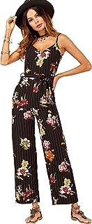 5637b5cc487c Romwe Women s Allover Floral Flower Graphic Striped Mixed Print Sleeveless  Self Tie Waist Long Wide Leg