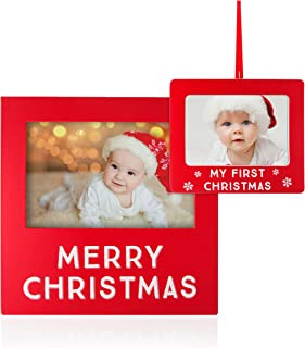 Tiny Ideas Matching Frame and Photo Ornament Set, Merry Christmas Frame, and Baby's My First Christmas Ornament, Holiday Keepsake Set