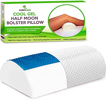 AnboCare Half Moon Bolster Pillow for Legs - Semi Roll Under Knee Pillow for Sleeping on Back - Cooling Gel Memory Fo...