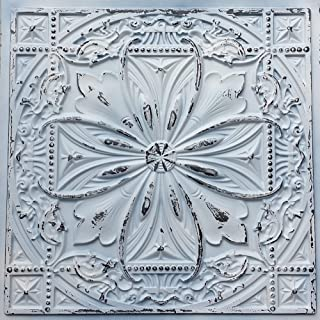 TalissaDecor Faux Tin Ceiling Tile TD10 Old Black White Pack of 10 2'X2' Tiles (~ 40 sq.ft). Easy to Install PVC Panels. Gorgeous Antique Vintage Look Ceiling. Great for Glue up/Drop in Installation.