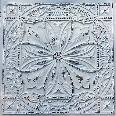 TalissaDecor Faux Tin Ceiling Tile TD10 Old Black White Pack of 10 2'X2' Tiles (~ 40 sq.ft). Easy to Install PVC Panels. Gorg
