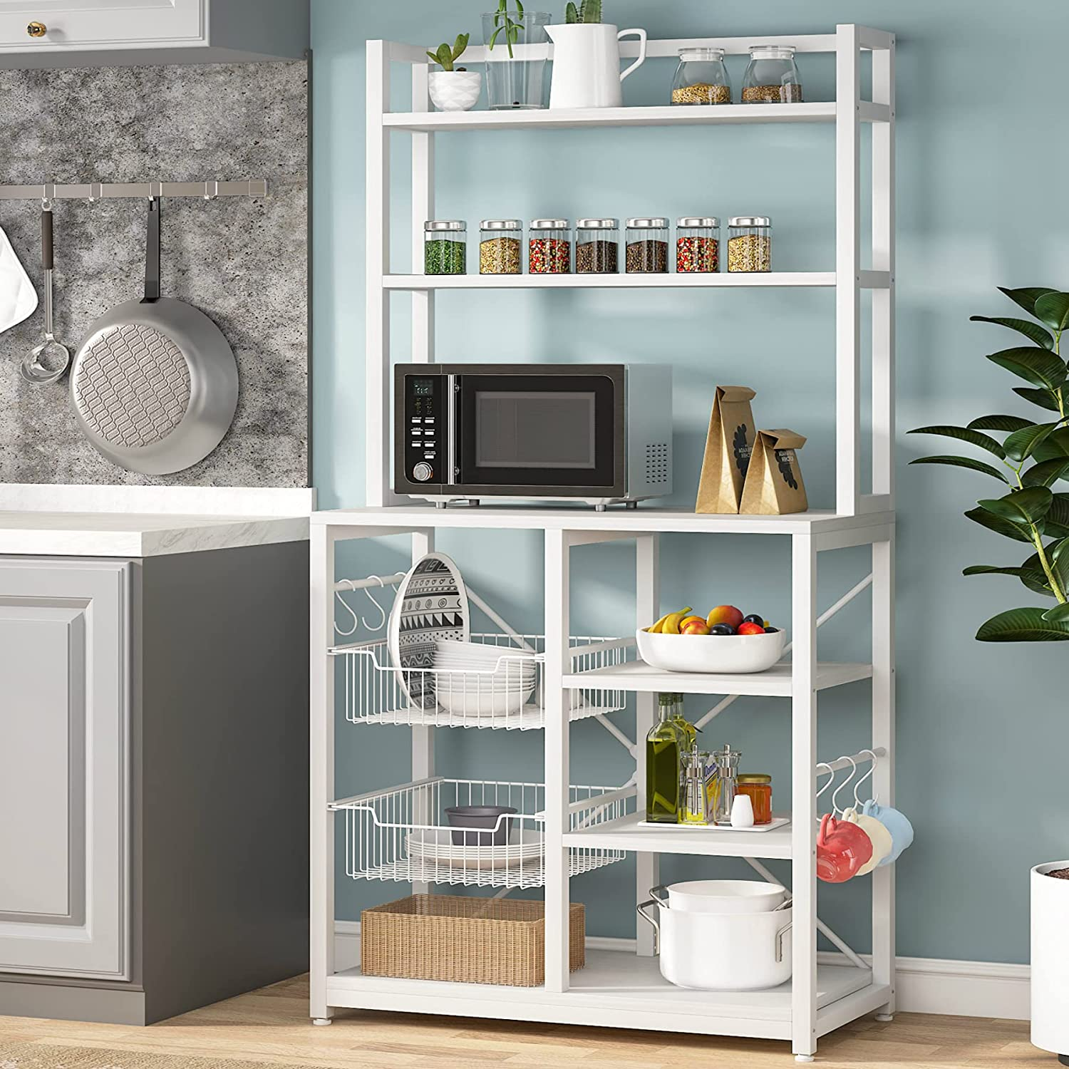 Tribesigns Award 6-Tier Kitchen SALENEW very popular! Baker's Rack with F Hutch 6 and Hooks