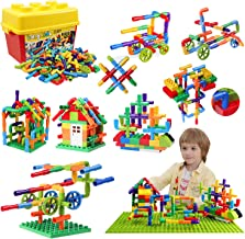 176 Piece Pipe Tube Toy, Sensory Toys, Tube Locks Construction Building Blocks, Educational STEM Building Learning Toys with Wheels Baseplate for All Ages Kids Boys Girls