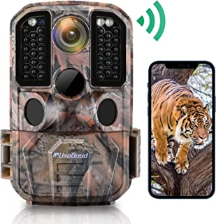 WiFi Trail Camera, usogood 24MP 1296P Game Cameras with IR Night Vision Motion Activated Waterproof Hunting Cam Wireless for Audio Live Feed, Outdoor Wildlife Monitoring, Send Picture to Cell Phone