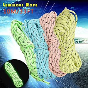 Bazaar 10M 33FT 9-Strand Luminous Nylon Rope Braided Glow Dark Paracord Parachute Cord 550LB